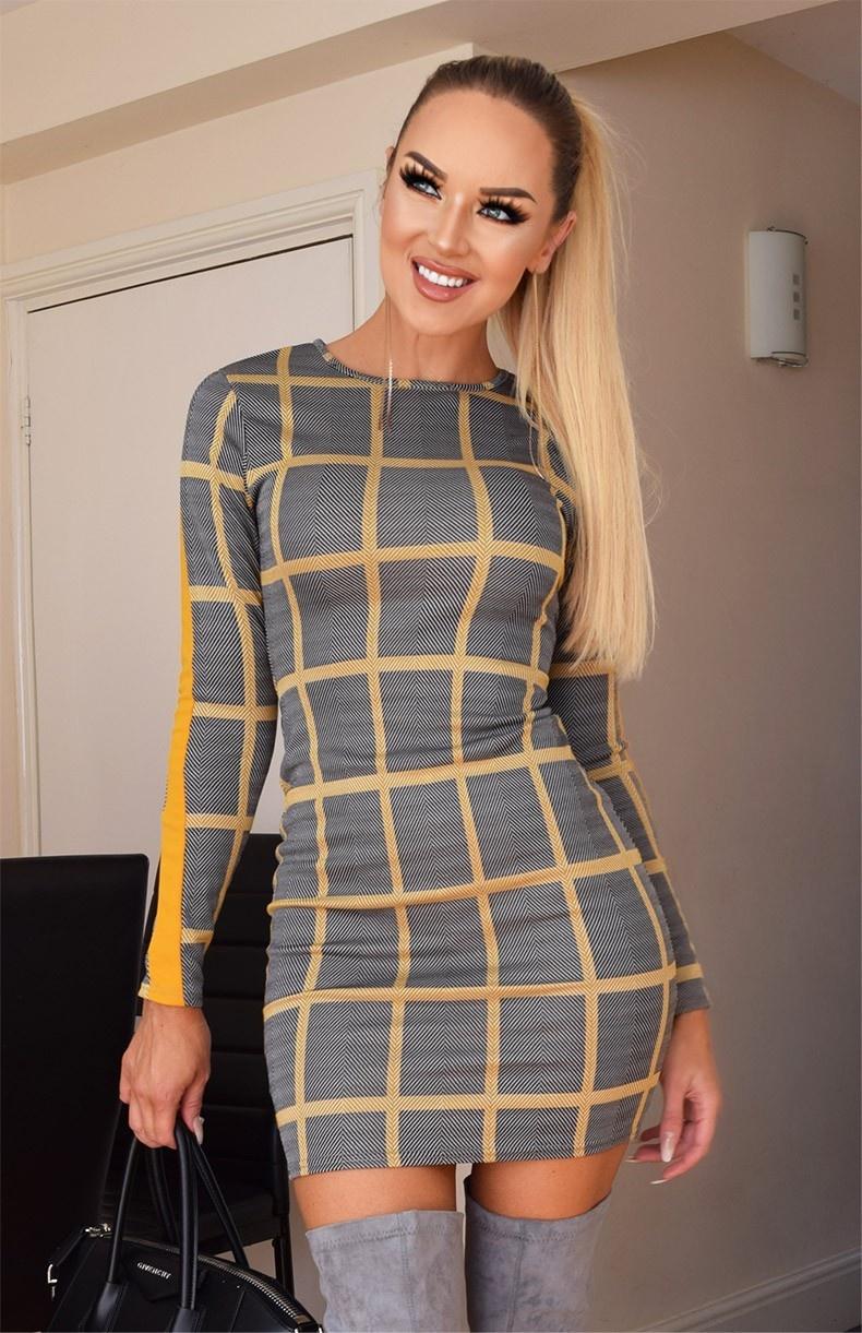 Karol jacquard grid geruit jurk mosterdgeel