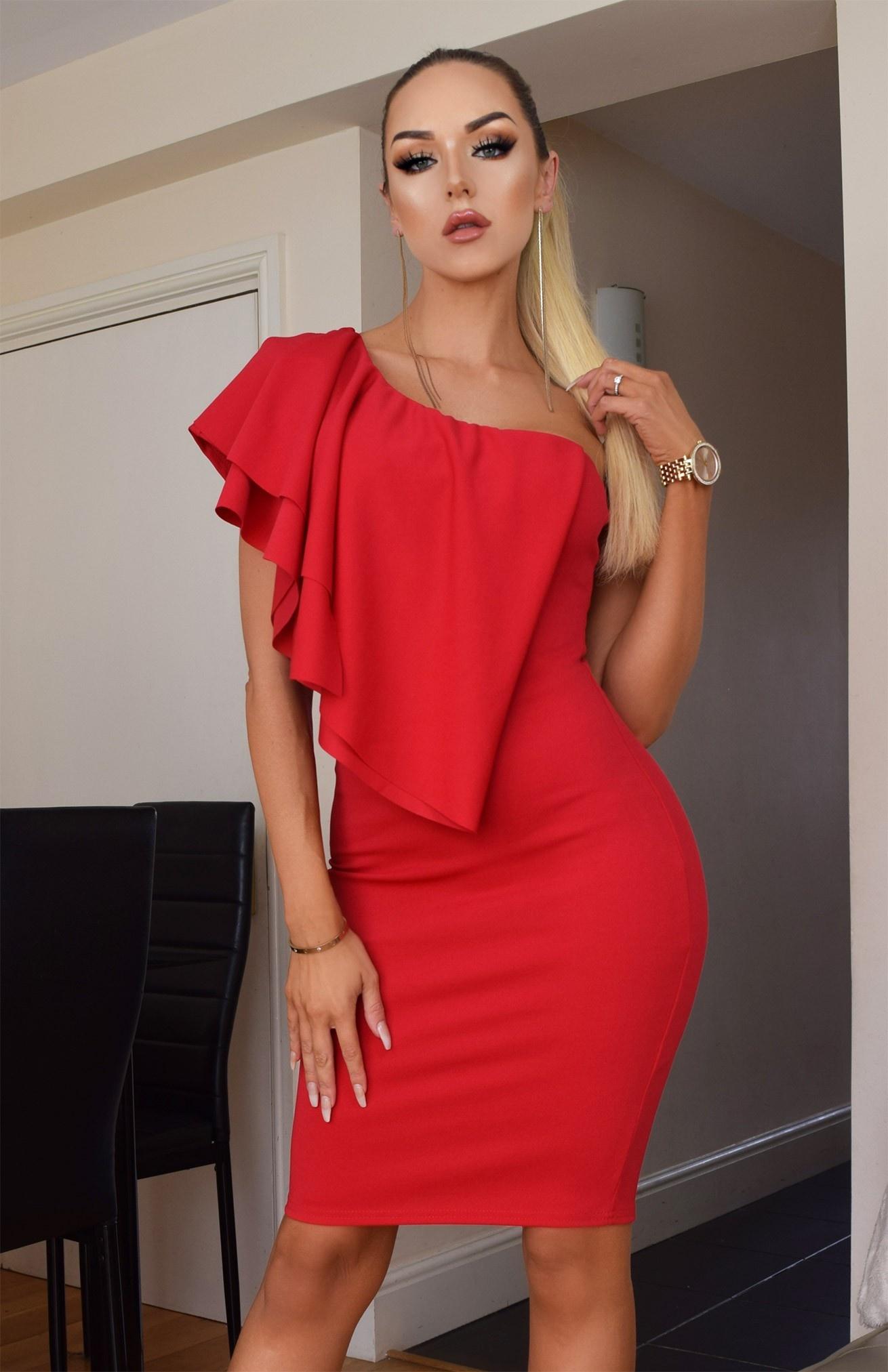 Stacia een-schouder ruches jurk rood