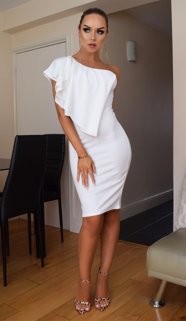 Stacia One Shoulder Frill Dress Ivory