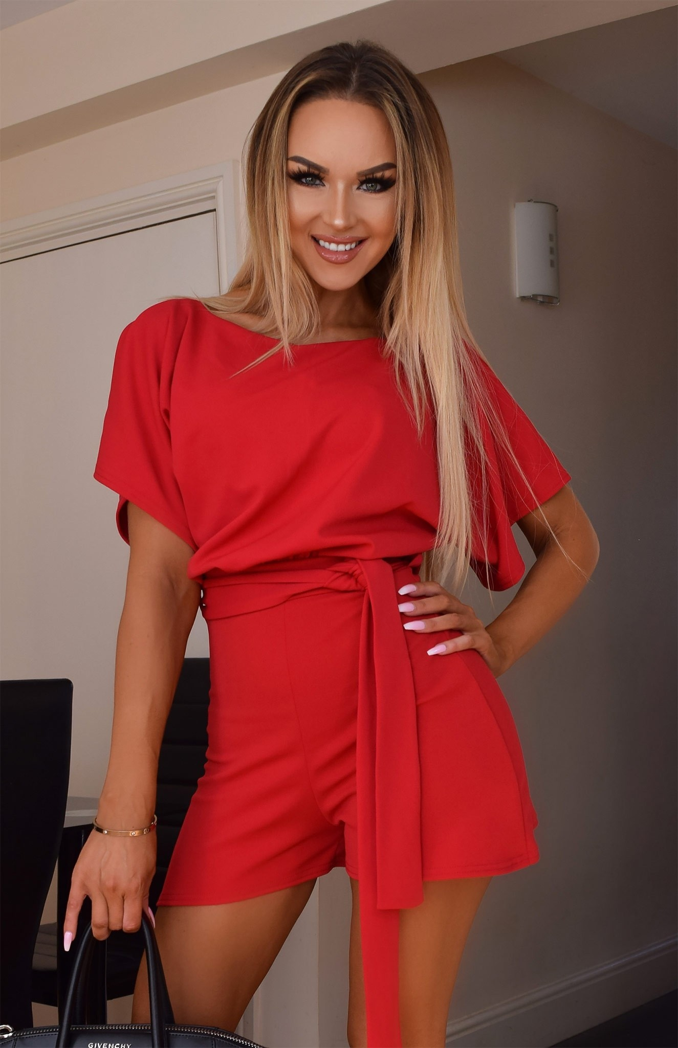 Judith Wrap Front Batwing Playsuit Red