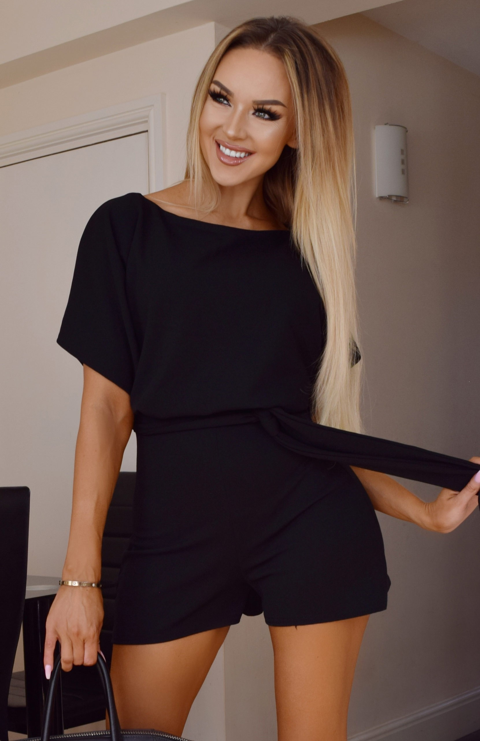 Judith Wrap Front Batwing Playsuit Black