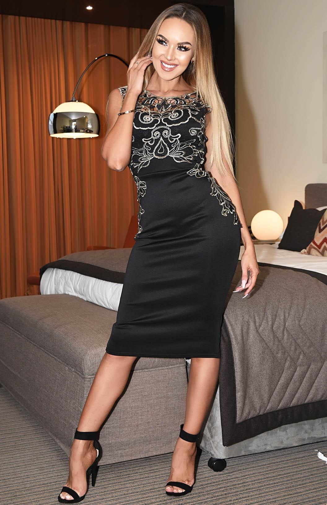 Kara bloemen-print gehaakte jurk zwart
