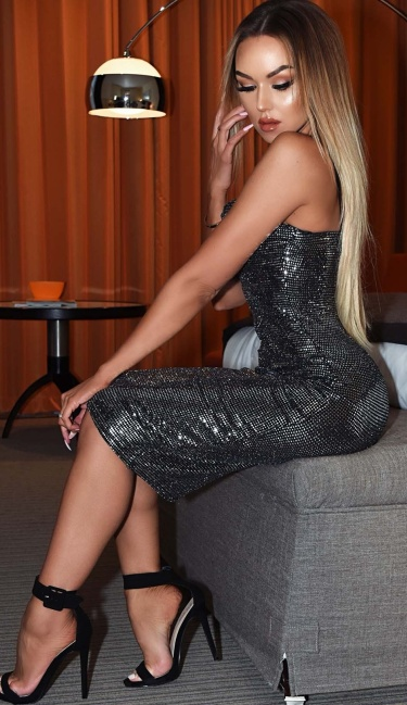 Isabel Sequin Bodycon Dress Silver