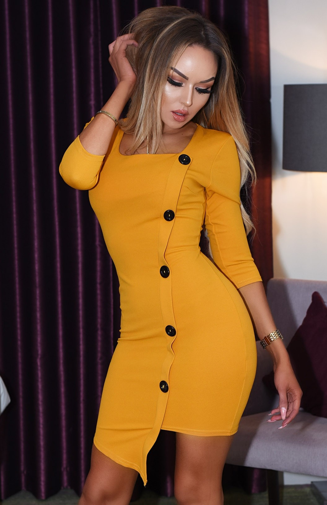 Kasie Button Detail Dress Mustard
