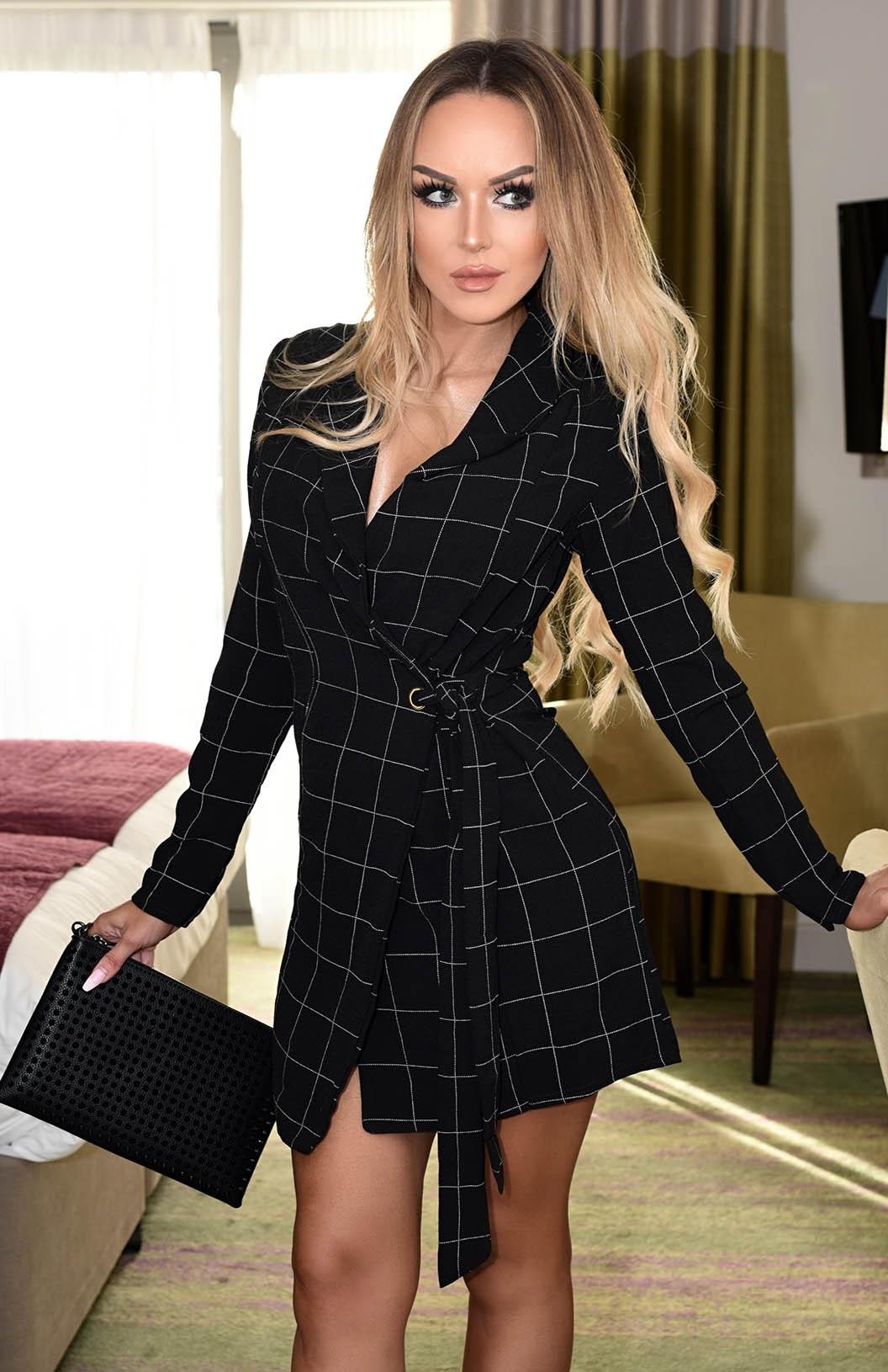 Megan Grid Checked Wrap Dress Black
