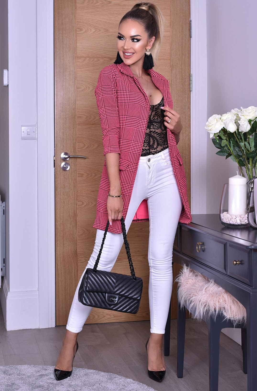Valerie lange jas roze