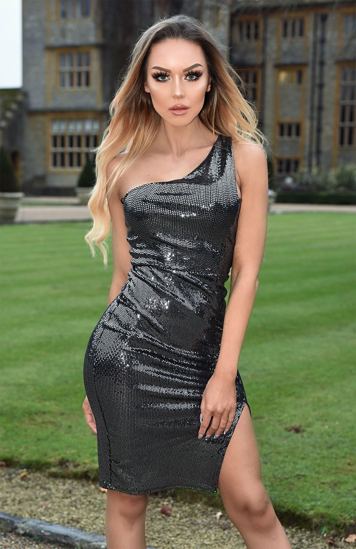 Ashlie een-schouder pailletten jurk zwart