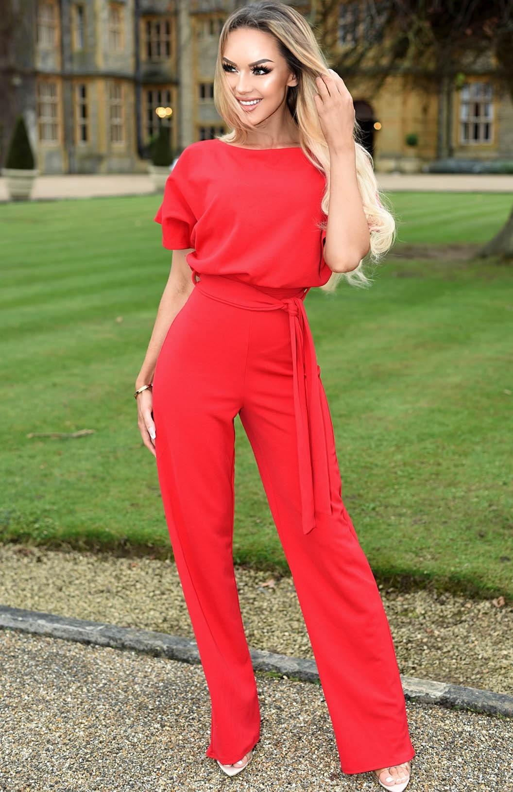 Judith vleermuismouw jumpsuit rood