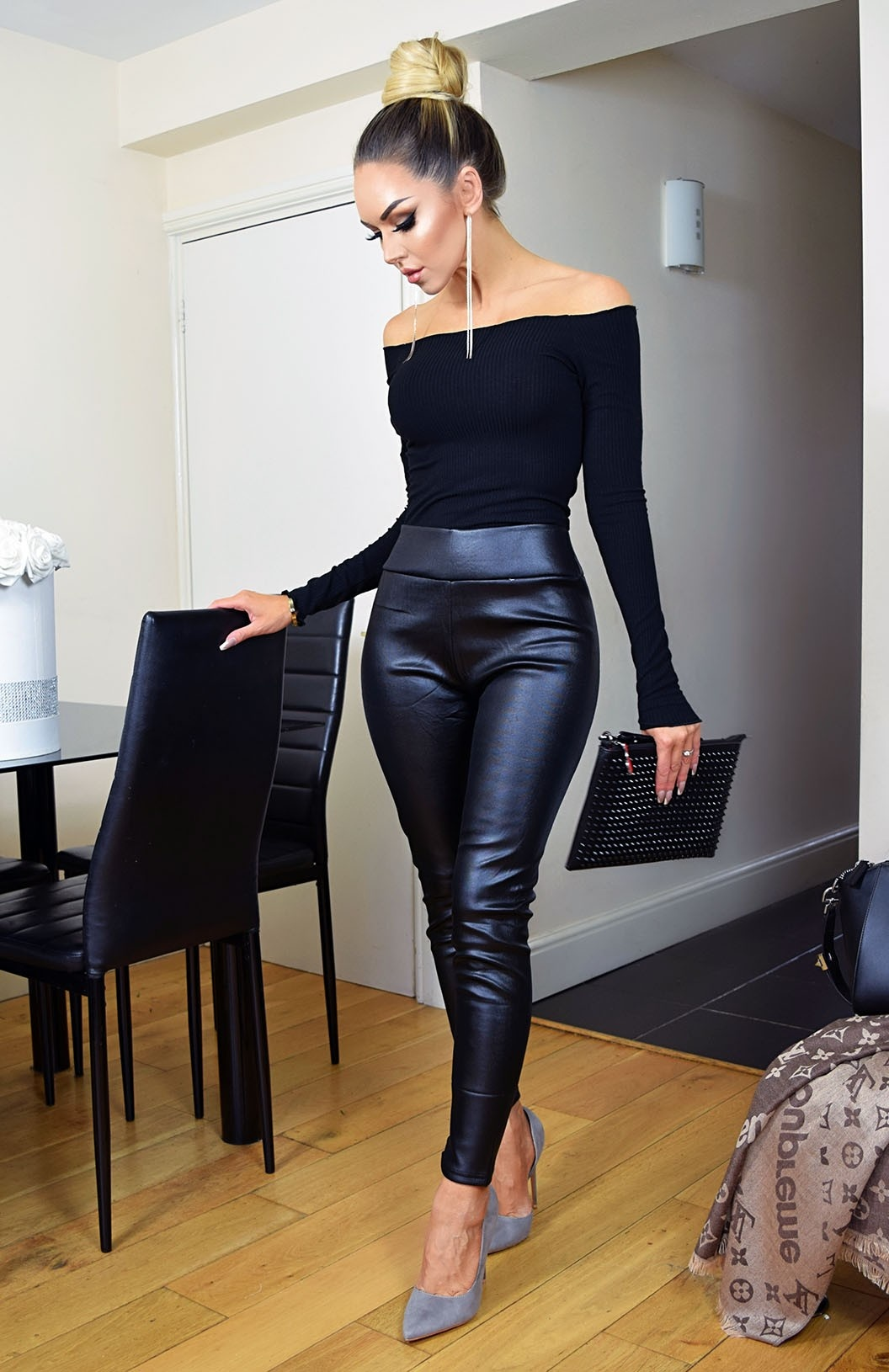 Chelsea PU Wet Look Trousers Black