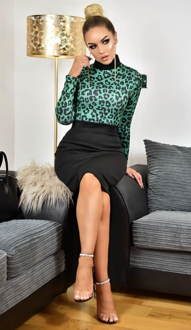 Maddie Animal Print Contrast Dress Green