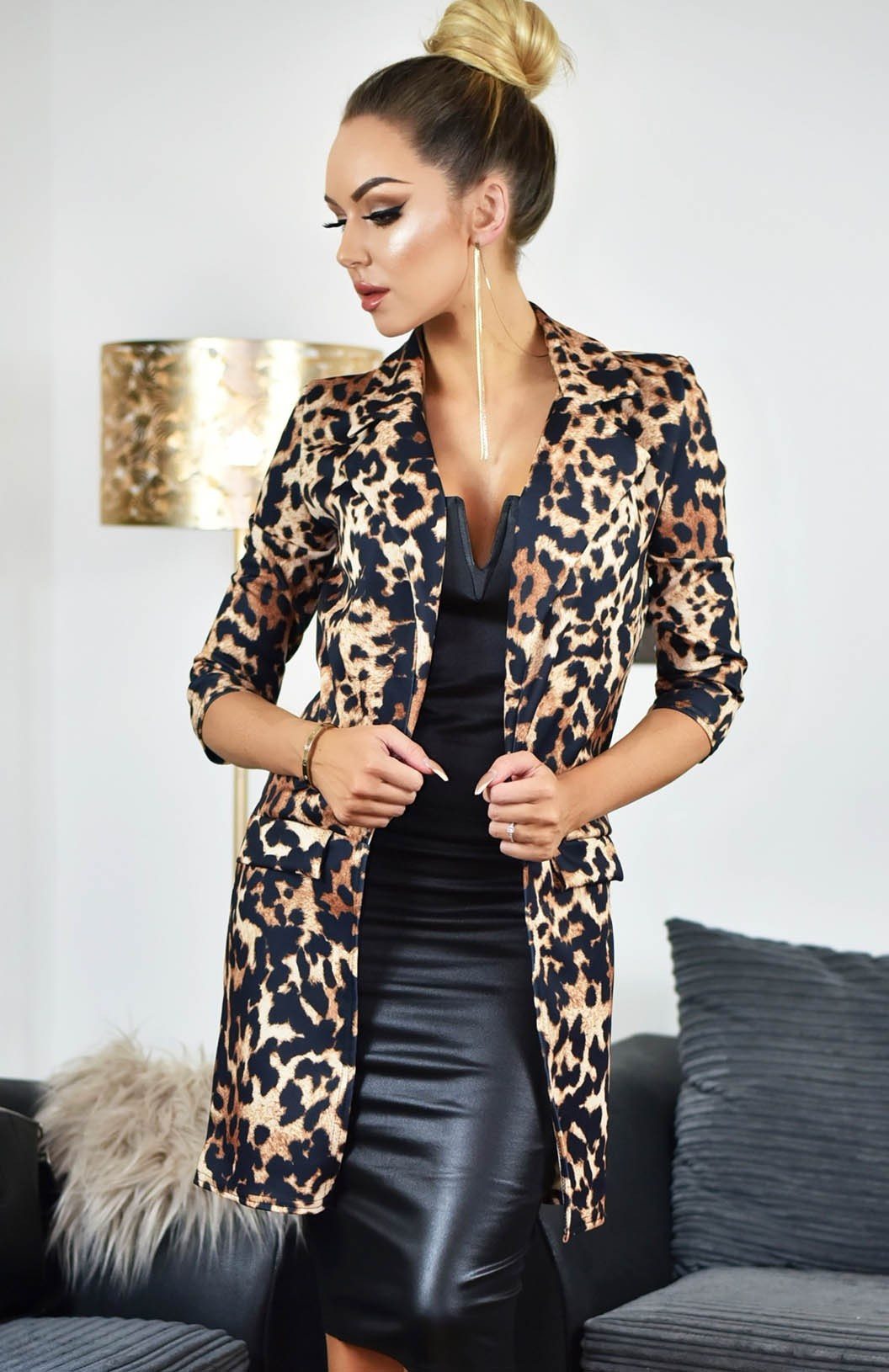Ivy Leopard Longline Jacket Brown