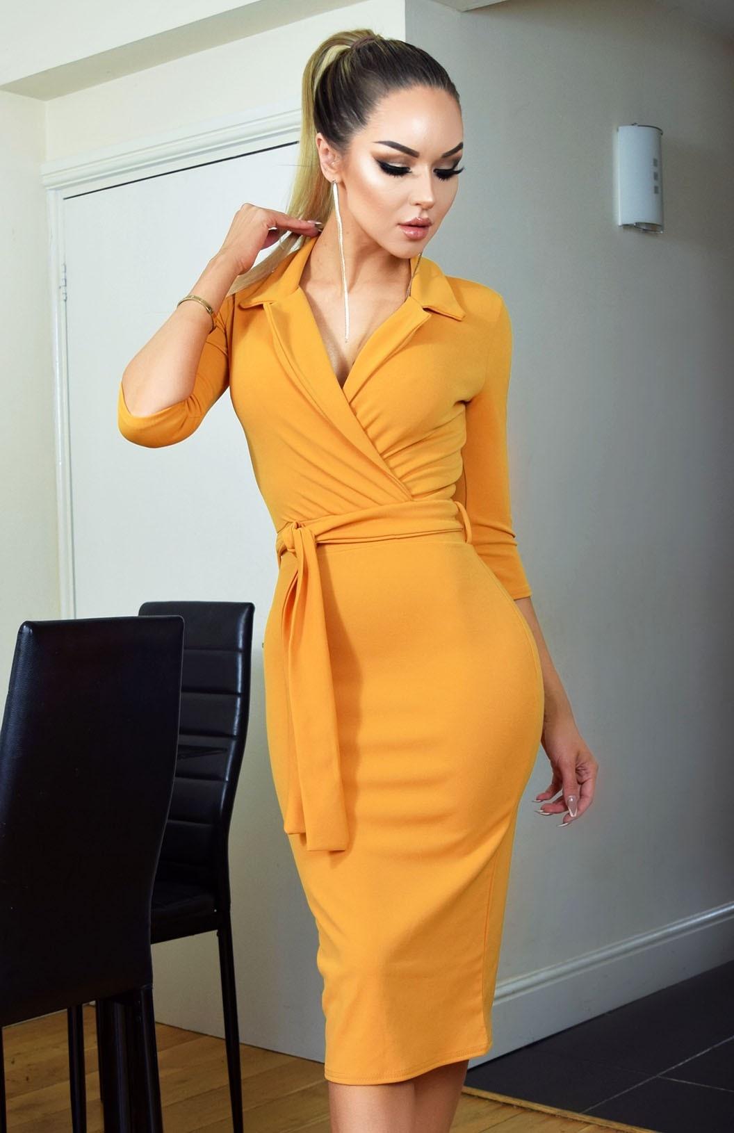 Nadia Collared Front Wrap Dress Mustard