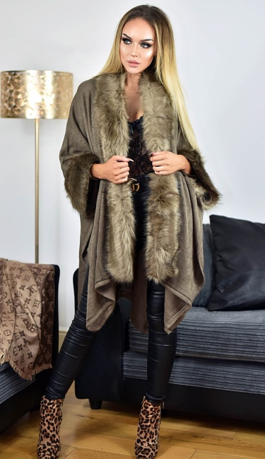 Carla Faux Fur Sleeved Cape Brown