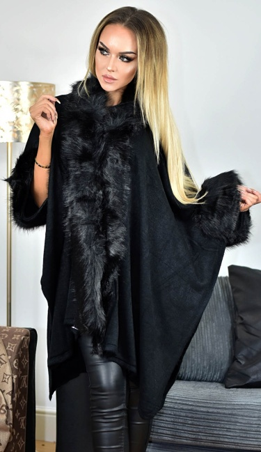 Carla Faux Fur Sleeved Cape Black