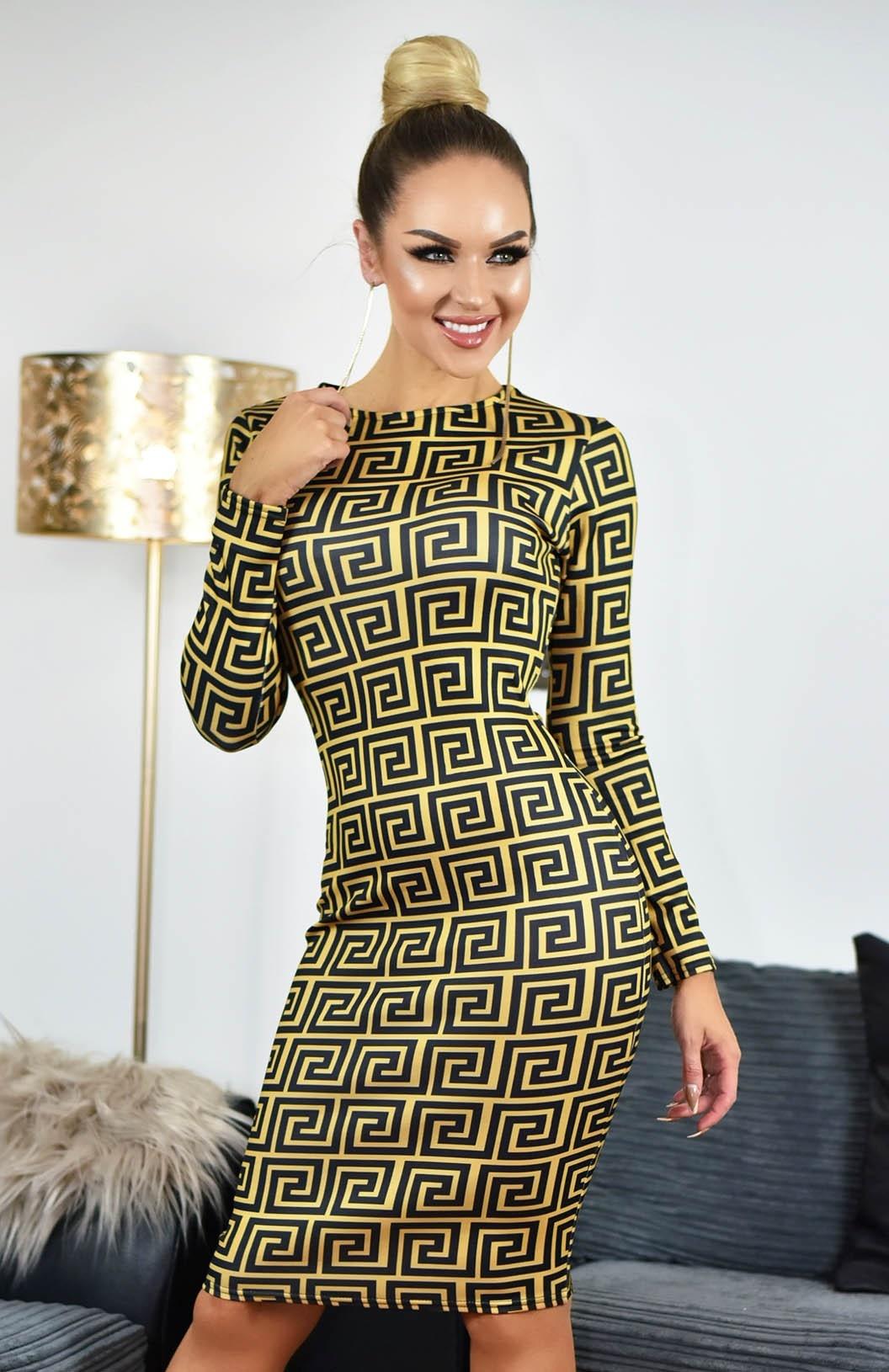 Kim Printed Scuba Dress Mustard