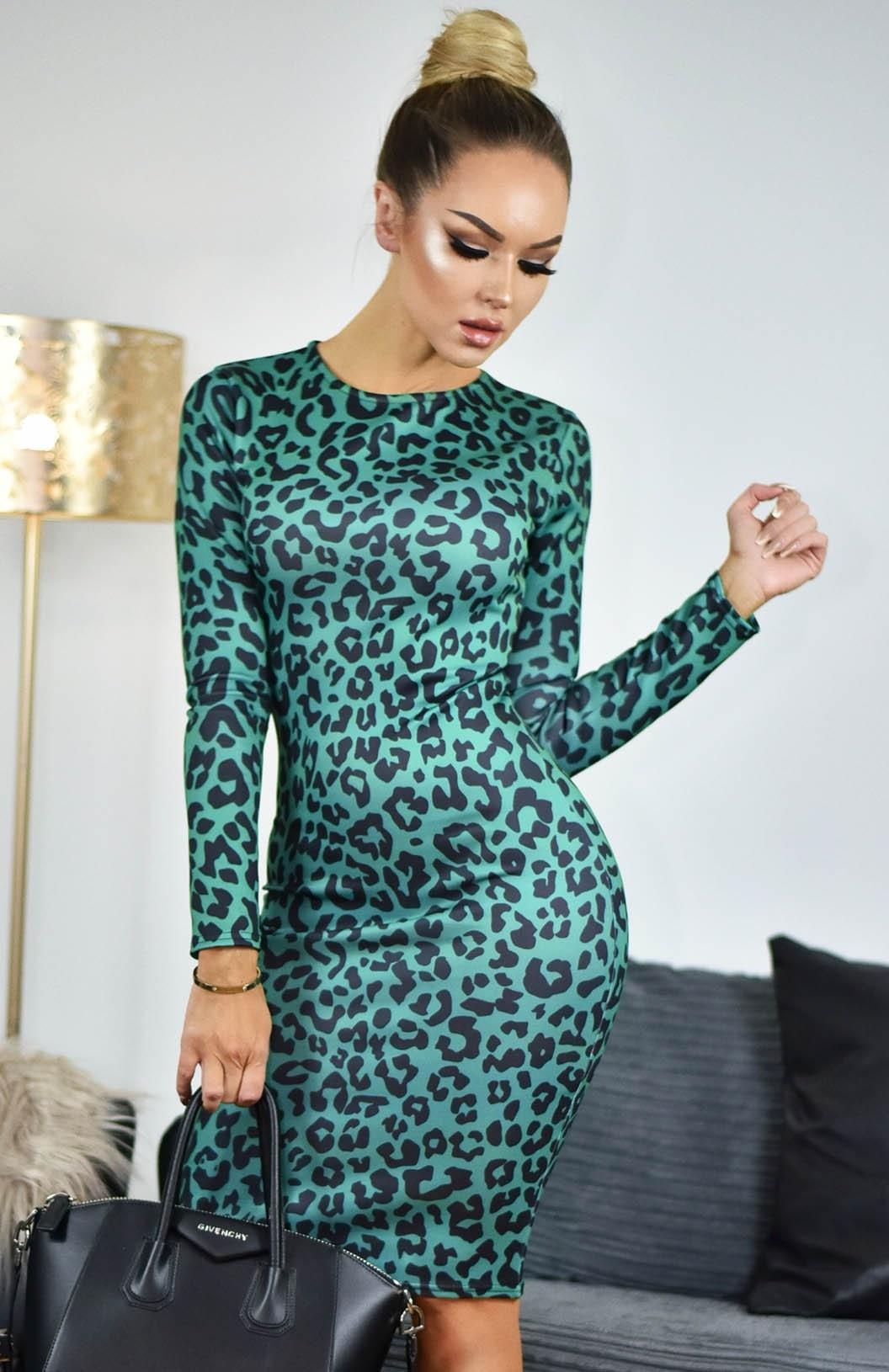 Kim Printed Scuba Dress Green