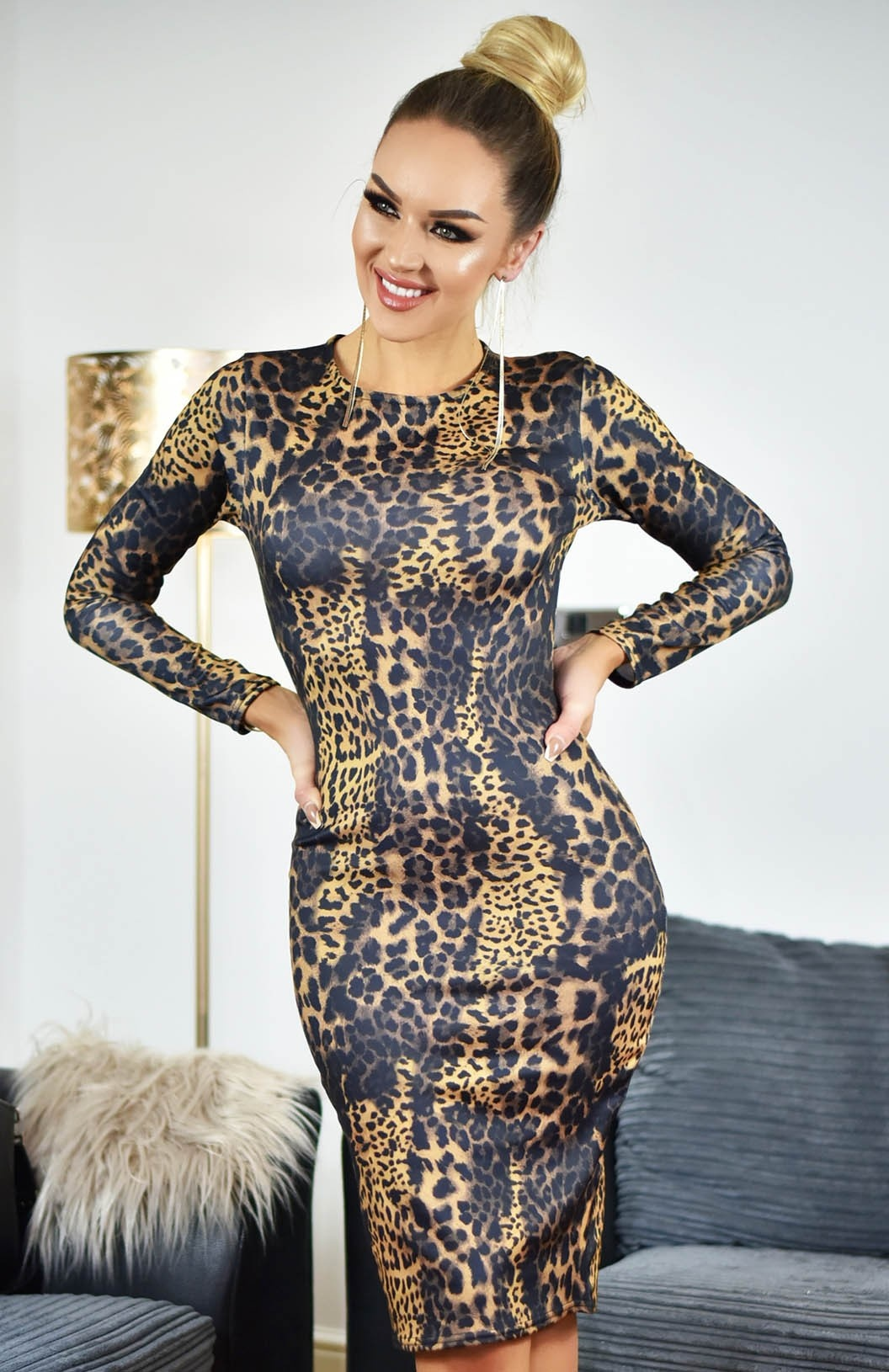 Kim Printed Scuba Dress Brown