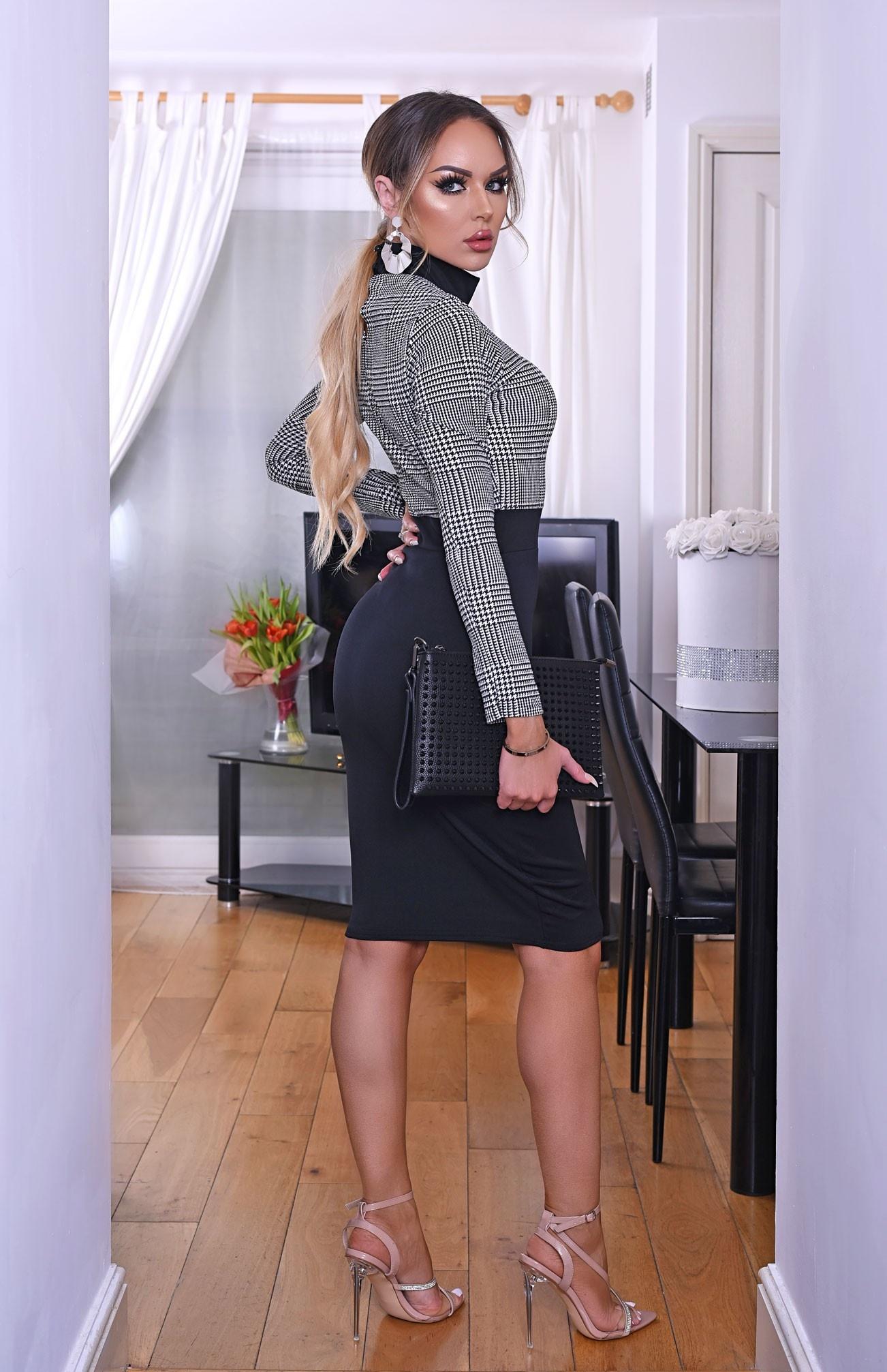 Tabitha contrast print jurk grijs