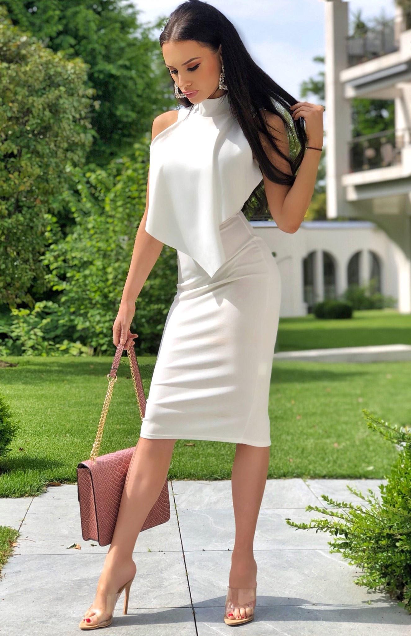 Violet Front Frill Dress Ivory