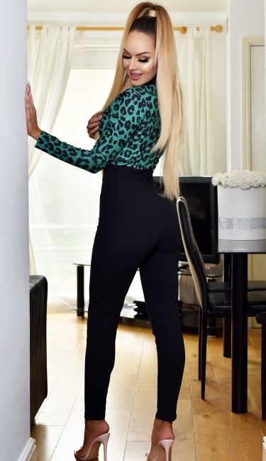Verity Contrast Print Jumpsuit Green