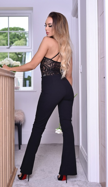 Kira Bandage Flared Trousers Black