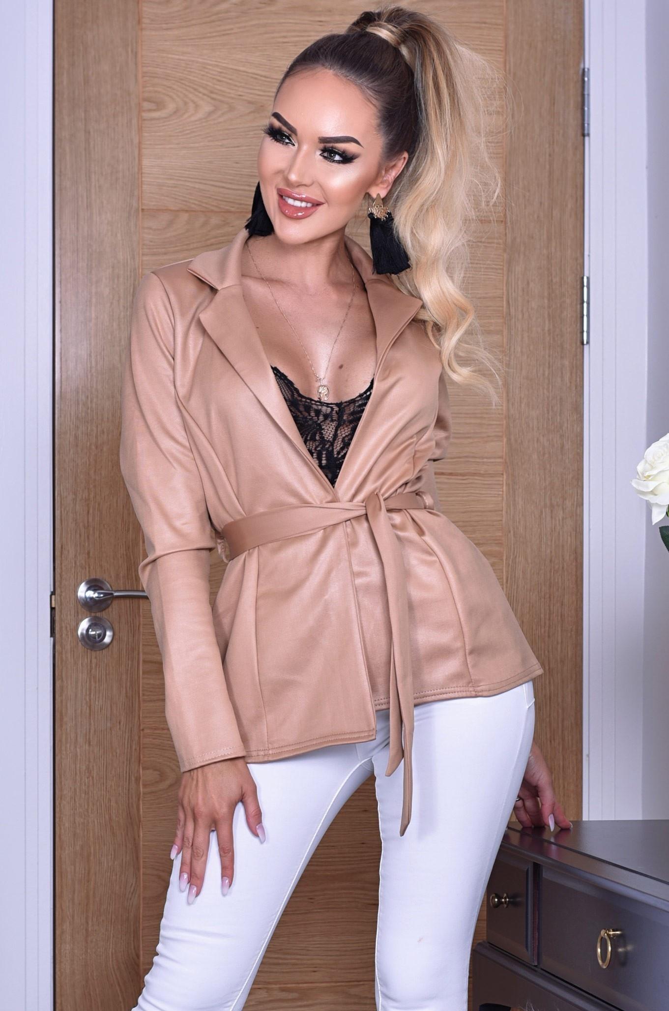 Elisha glans jas met riem camel
