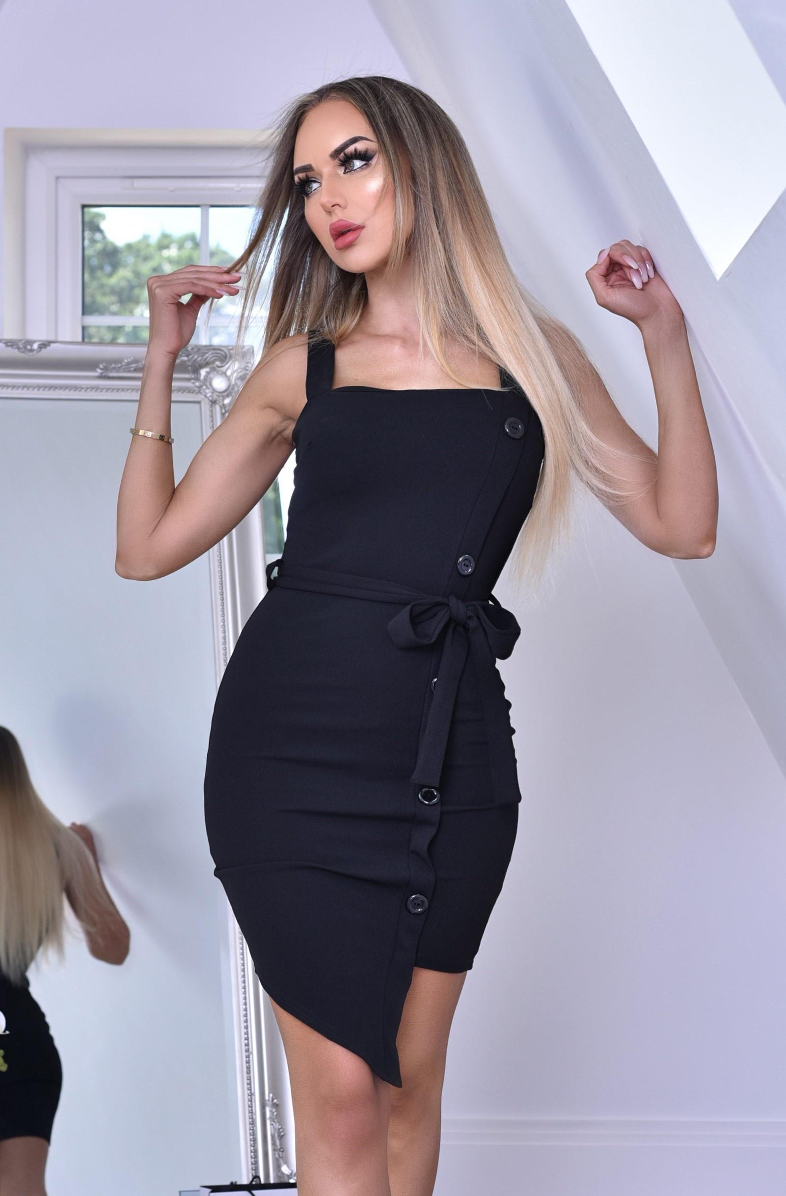 Sophia jurk met knoppen detail en riem zwart