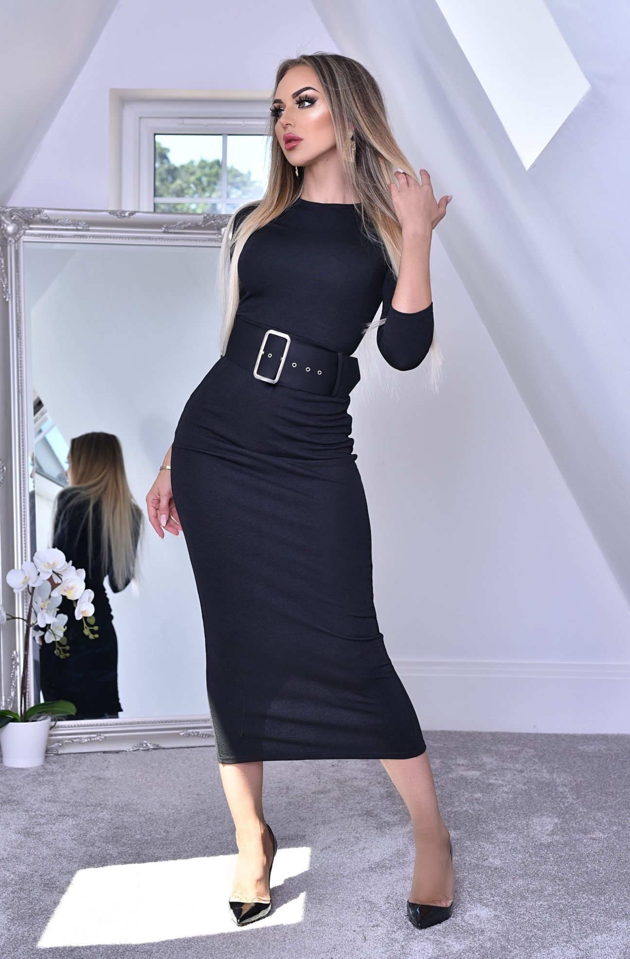 Eliana Belted Midaxi Dress Black