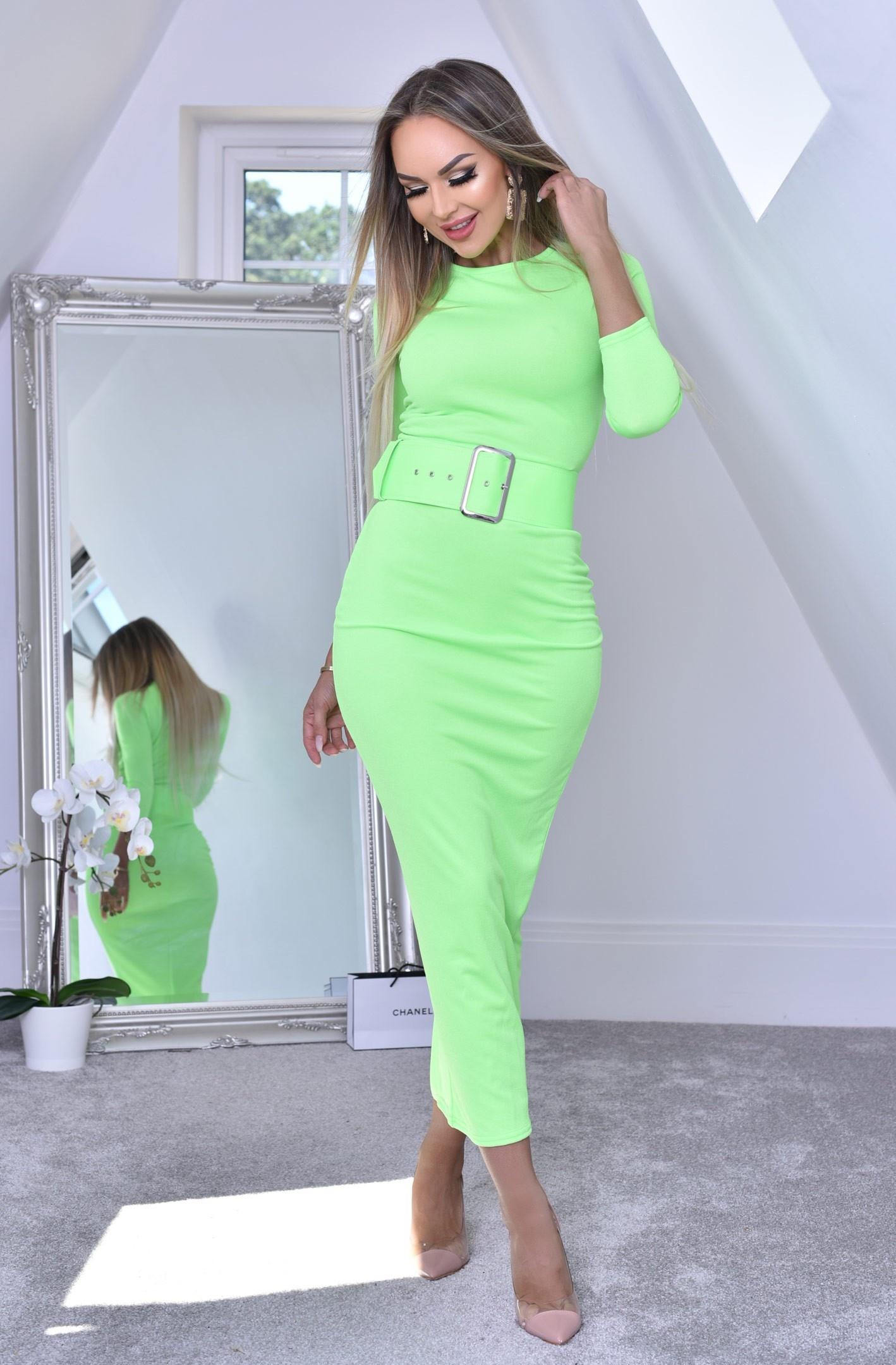 Eliana maxi jurk met riem limoengroen