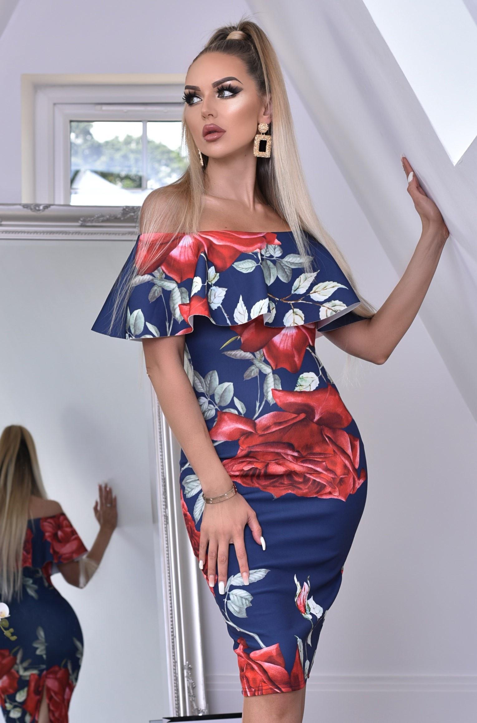 Savanna bloemen-print ruches overliggende bardot jurk marineblauw