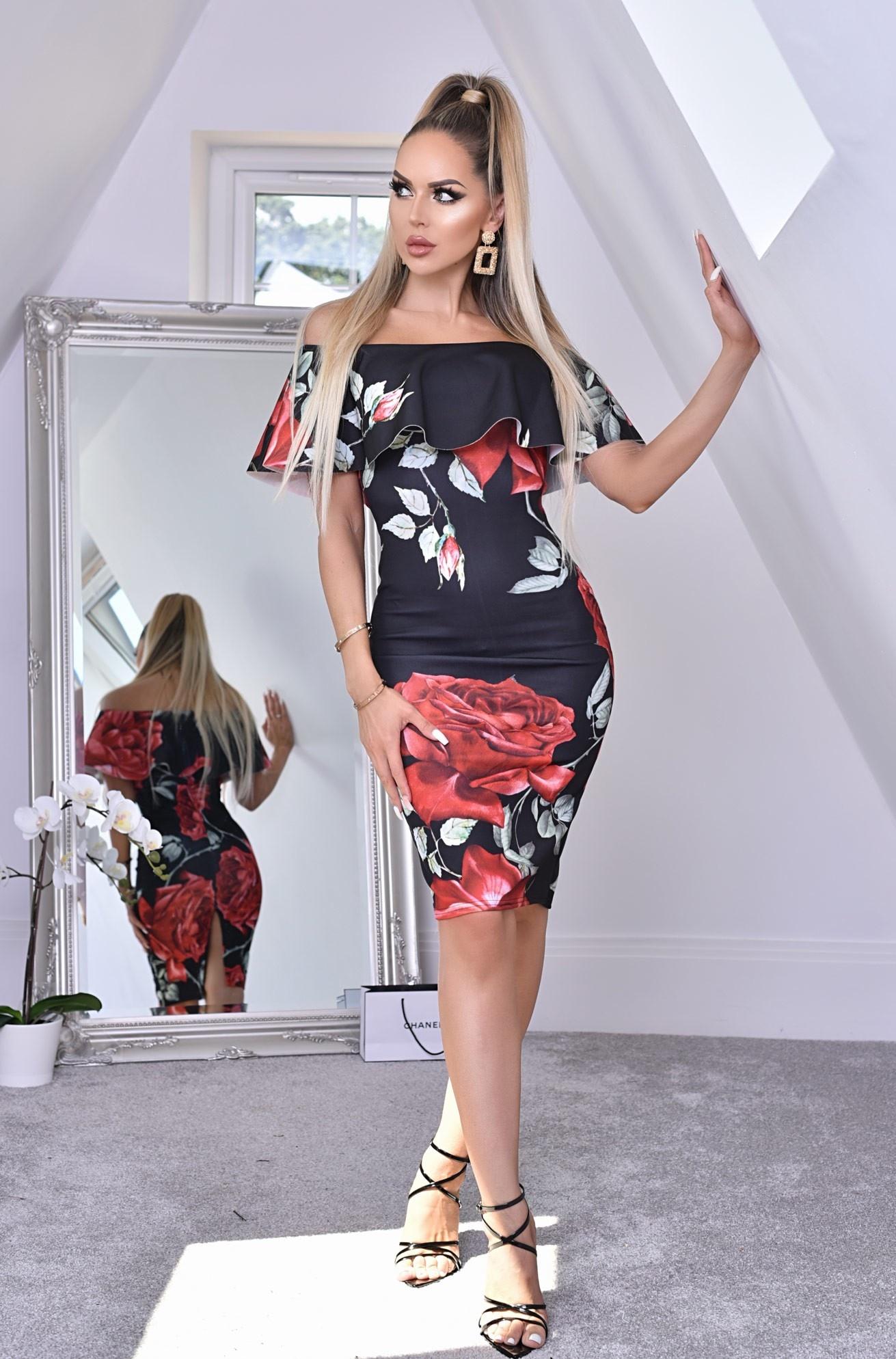 Savanna bloemen-print ruches overliggende bardot jurk zwart