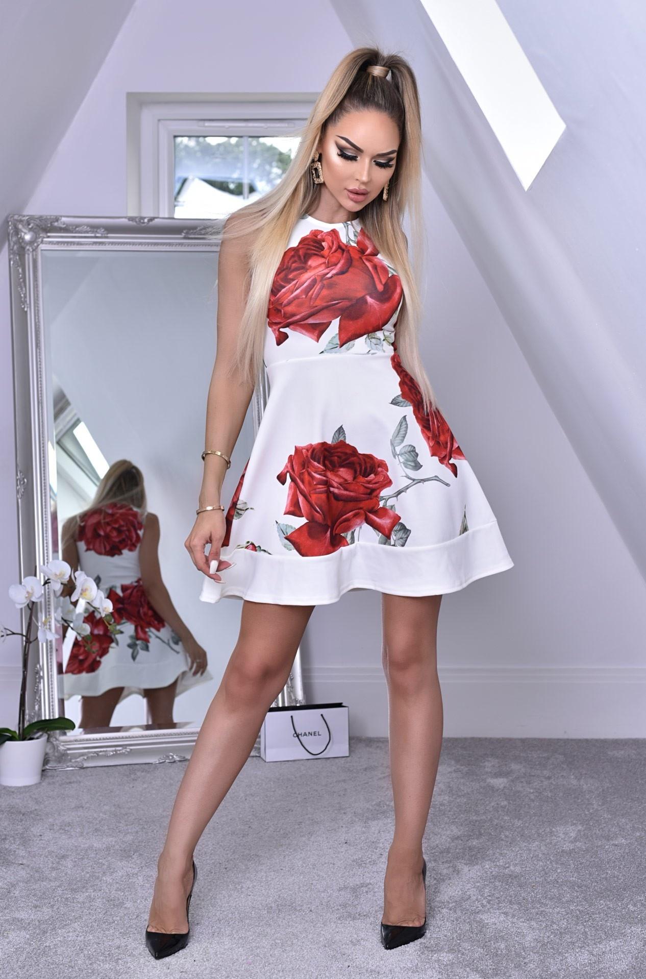 Felicia bloemen-print skater jurk ivoorwit