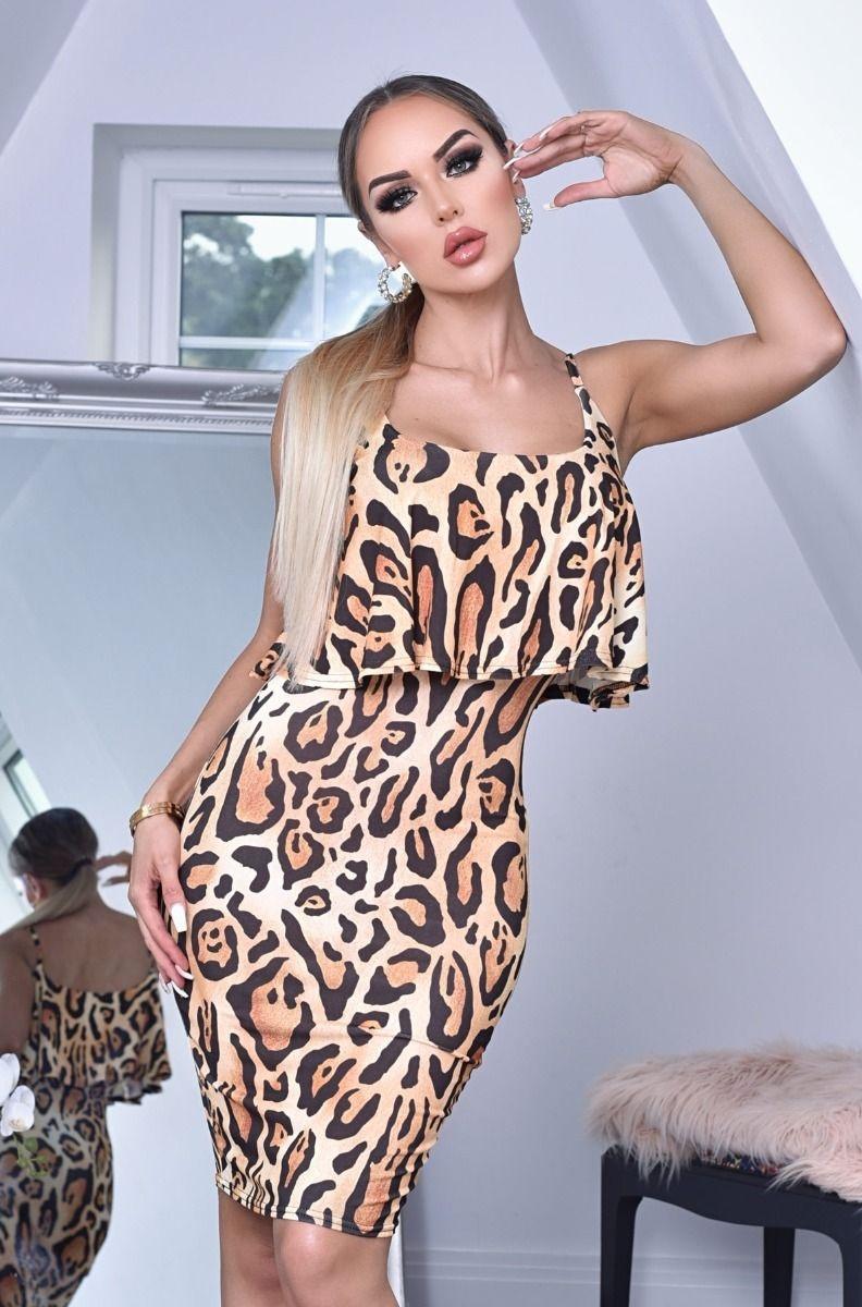 Shaya ruches overliggende jurk in dieren-print