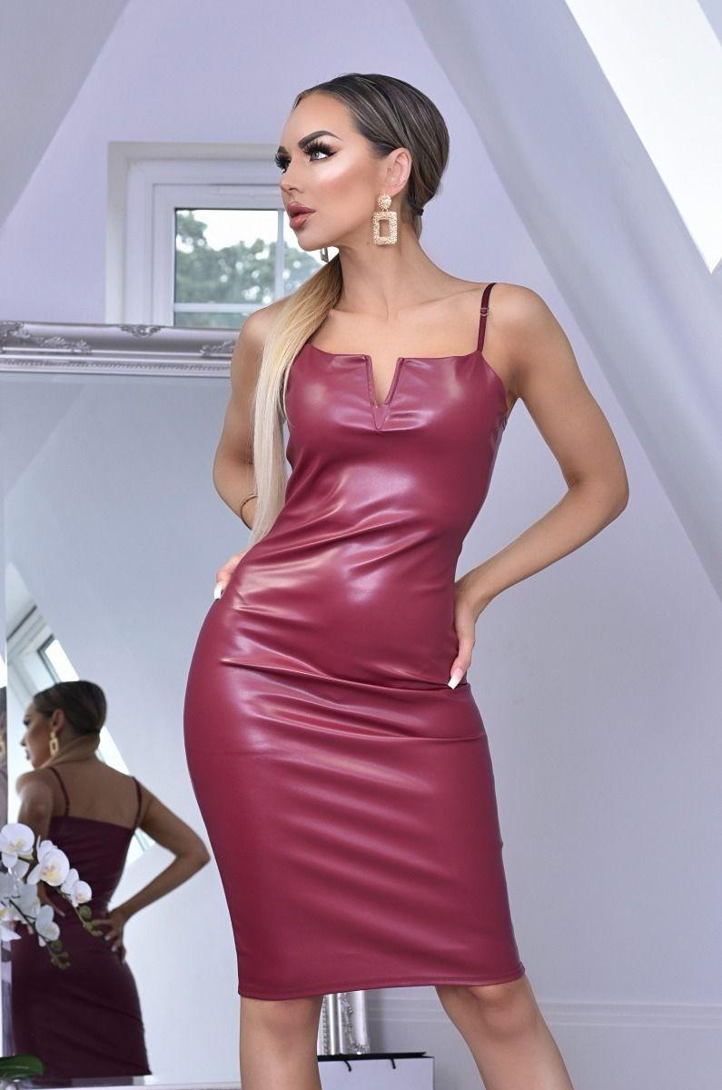 Nushia PU 'V' Plunge Neck Bodycon Dress Wine