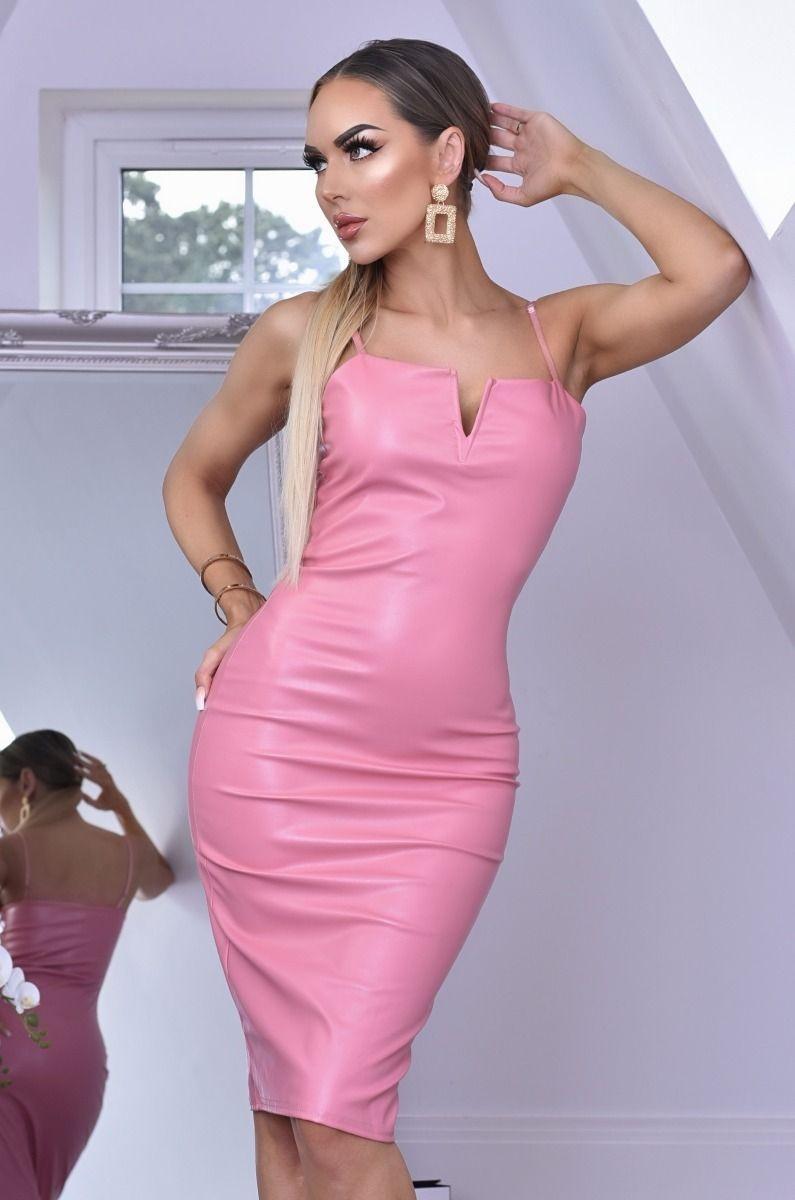 Nushia PU 'V' Plunge Neck Bodycon Dress Dusty Pink