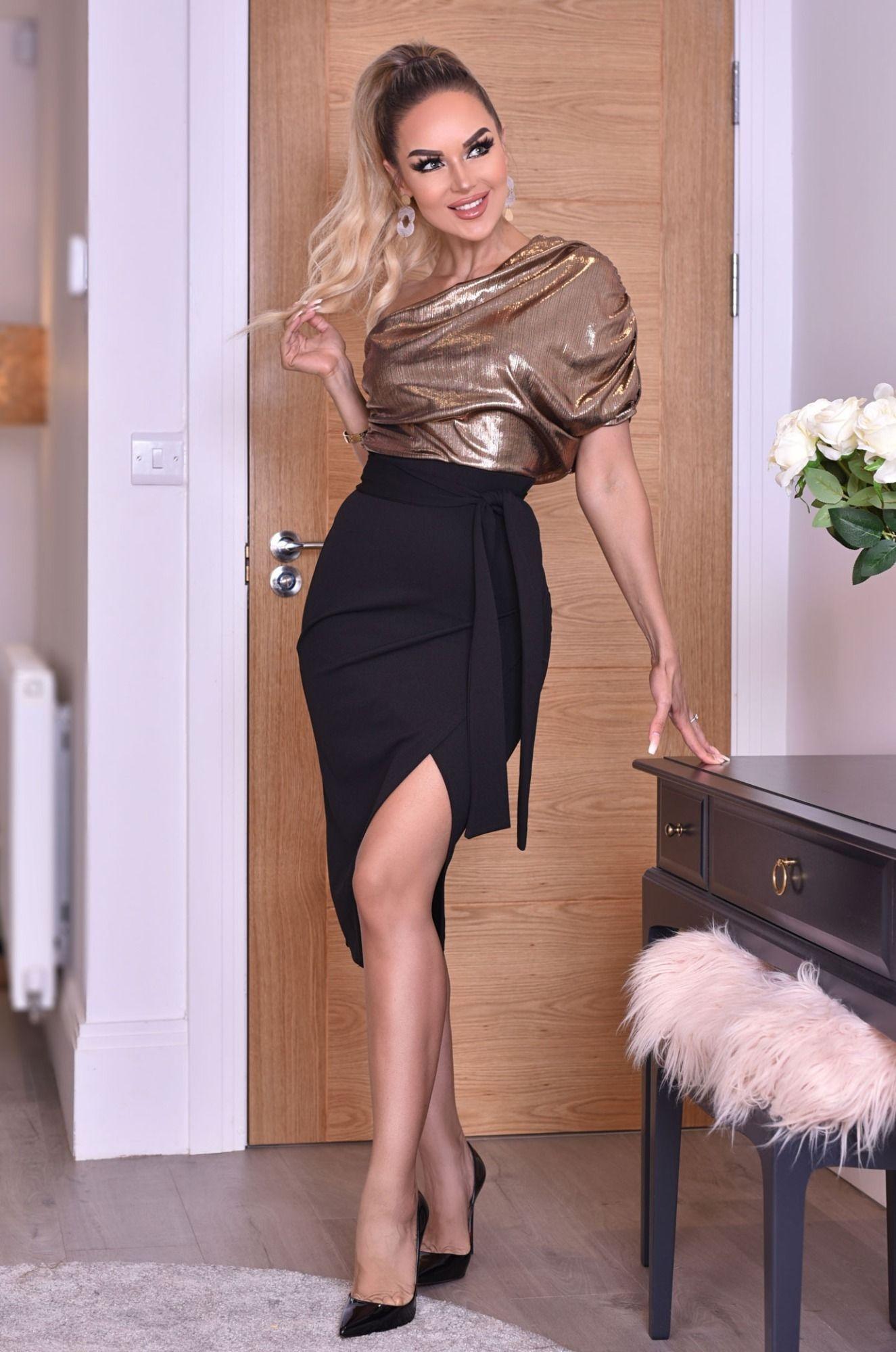 Minka volant-geplooide een-schouder wikkel jurk goud