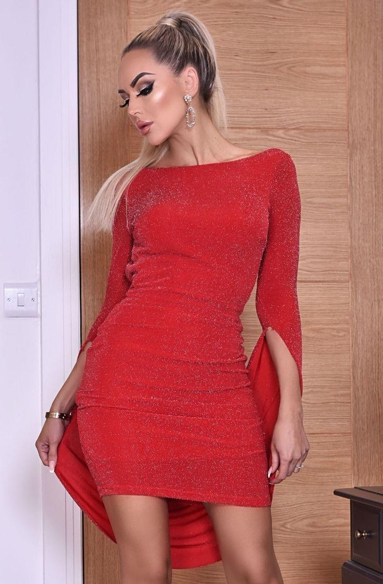 Melinda lurex open rug glans jurk rood