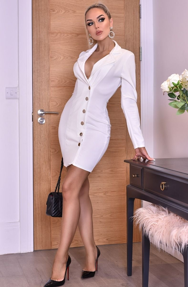 Carmen Button Detail Blazer Dress Ivory