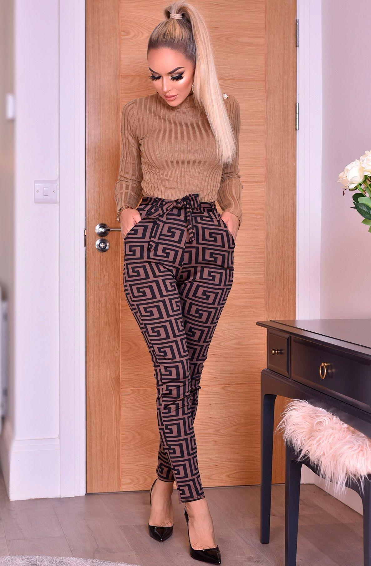 Inna hoge taille broek met riem bruin