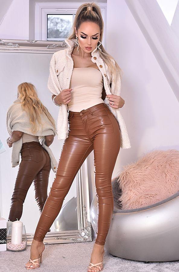 Jordan Leatherette Pocket Detail Trousers Brown