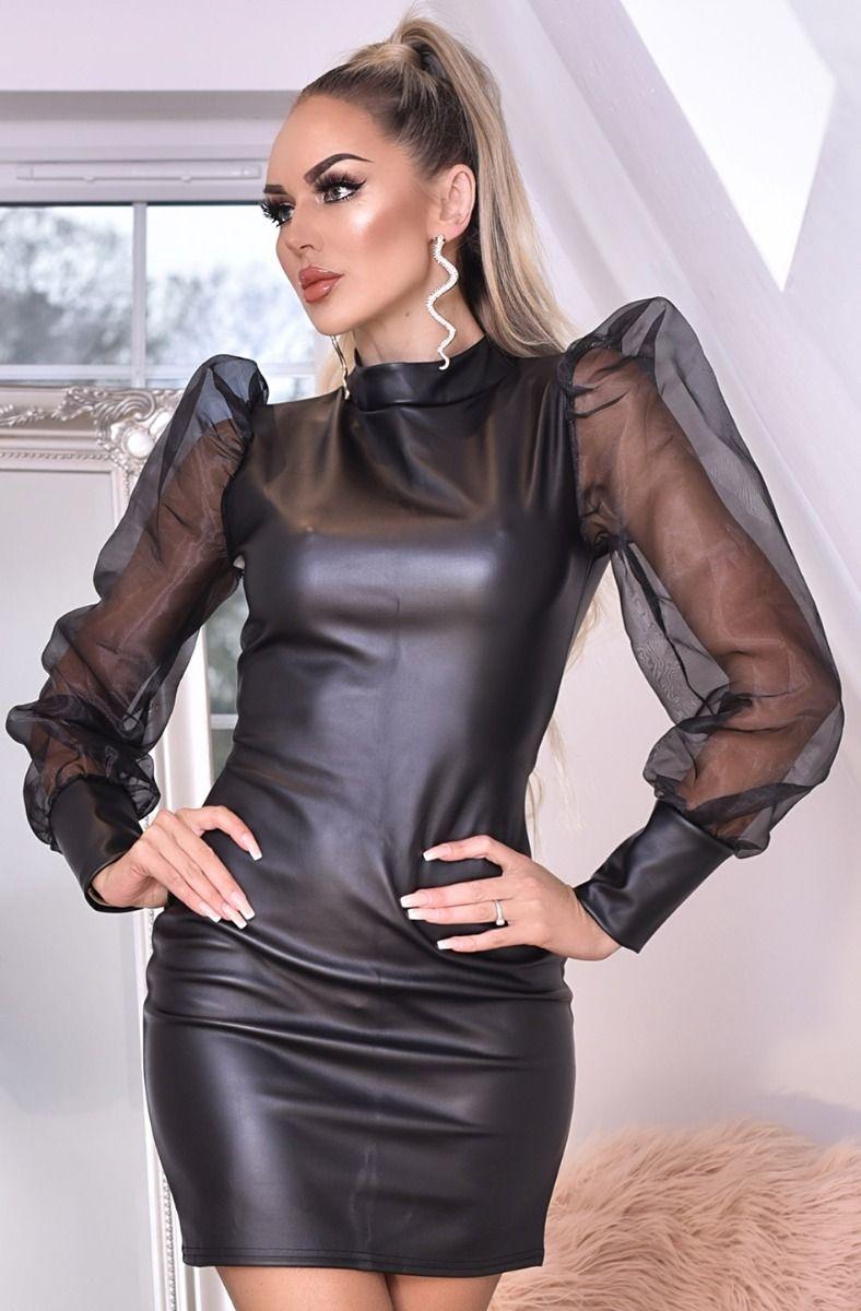 Avery organza puffed sleeve lederette jurk zwart