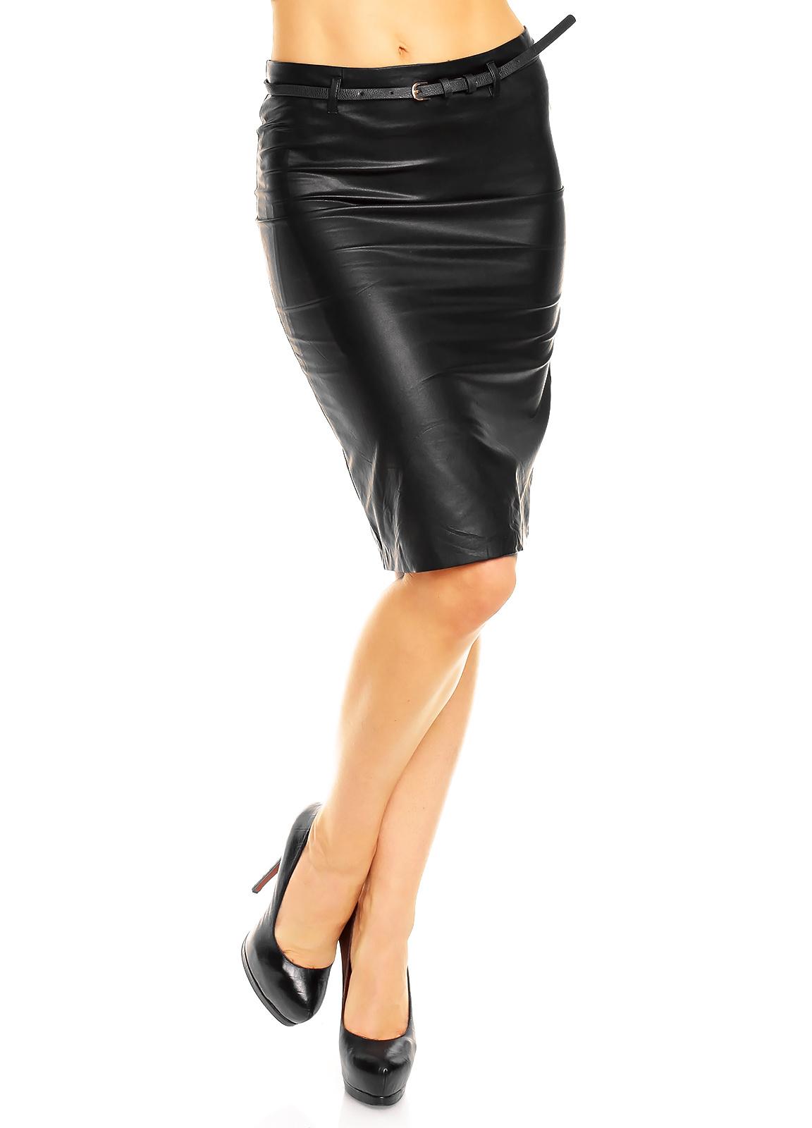 Leder-Look Rok met riem Zwart