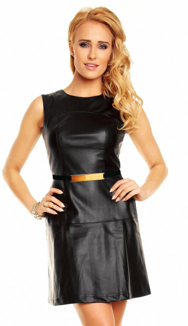 Leather-Look Minidress with belt Black