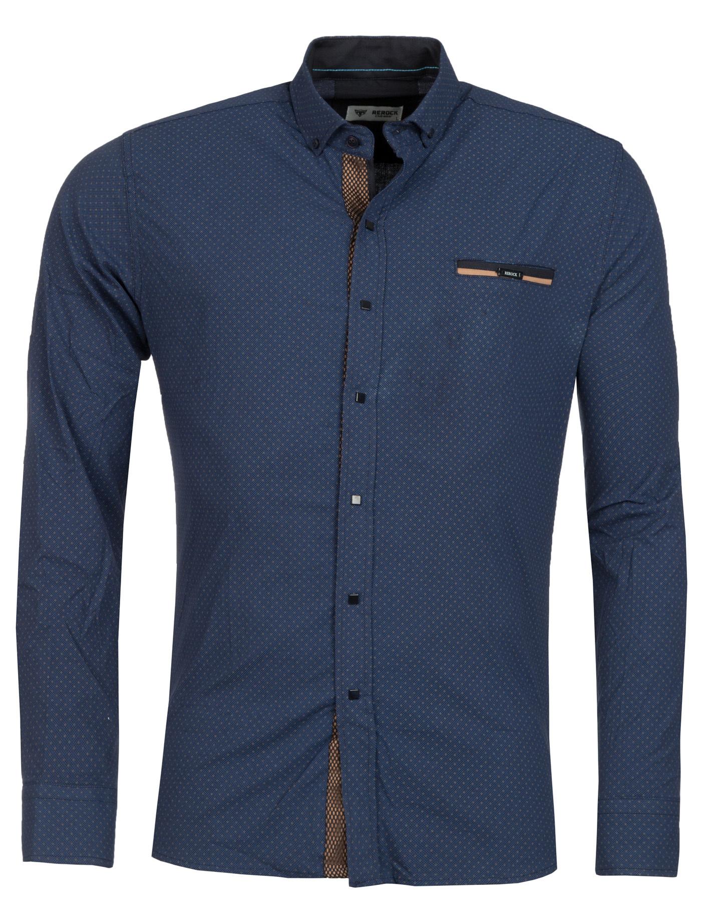 Overhemd marineblauw - bruin