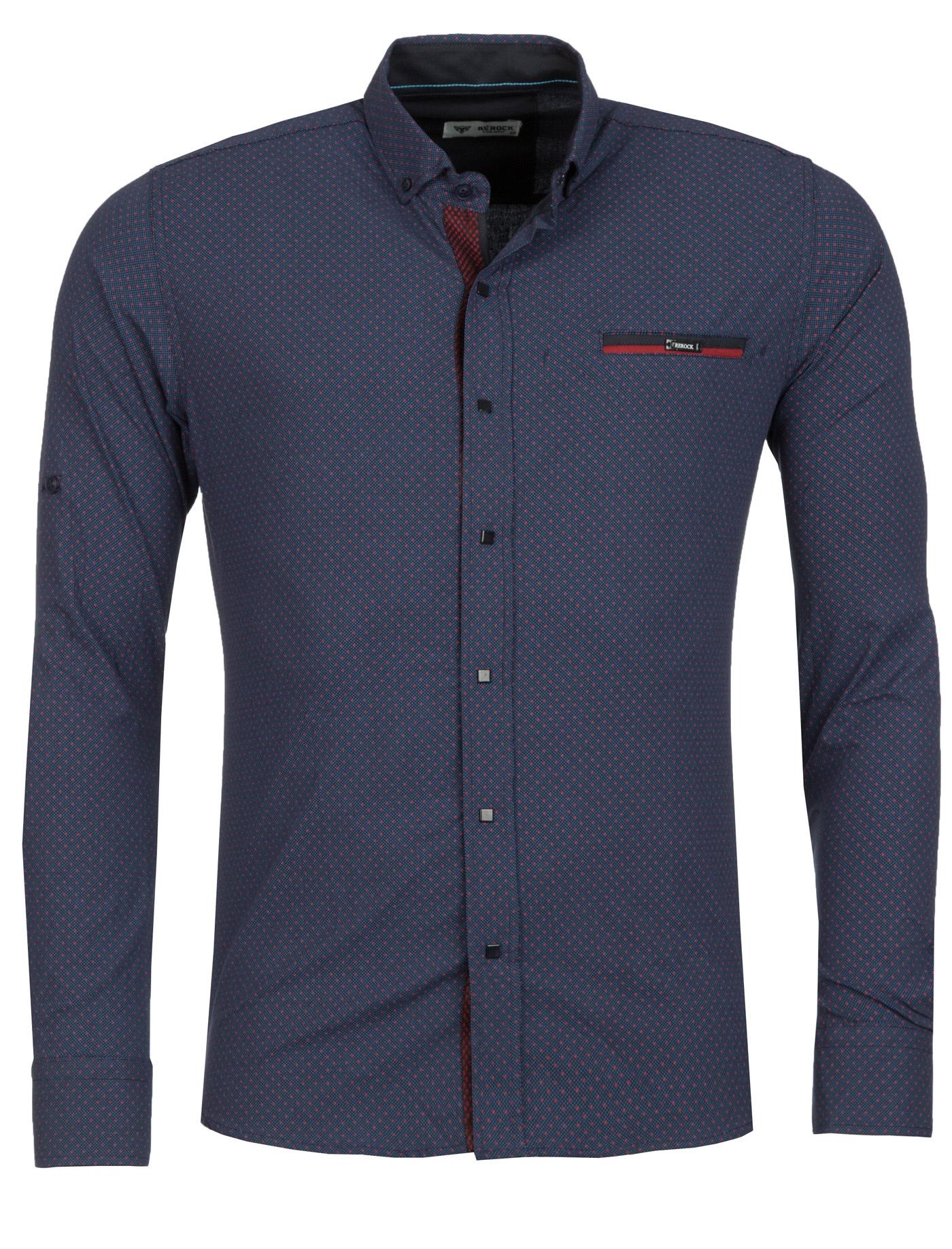 Overhemd marineblauw - rood