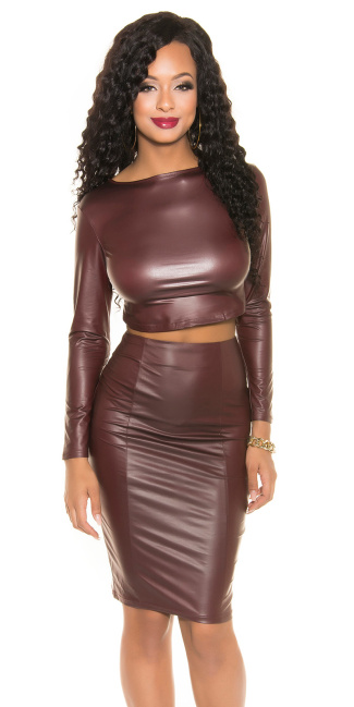 Sexy Wetlook Crop Shirt backfree Bordeaux