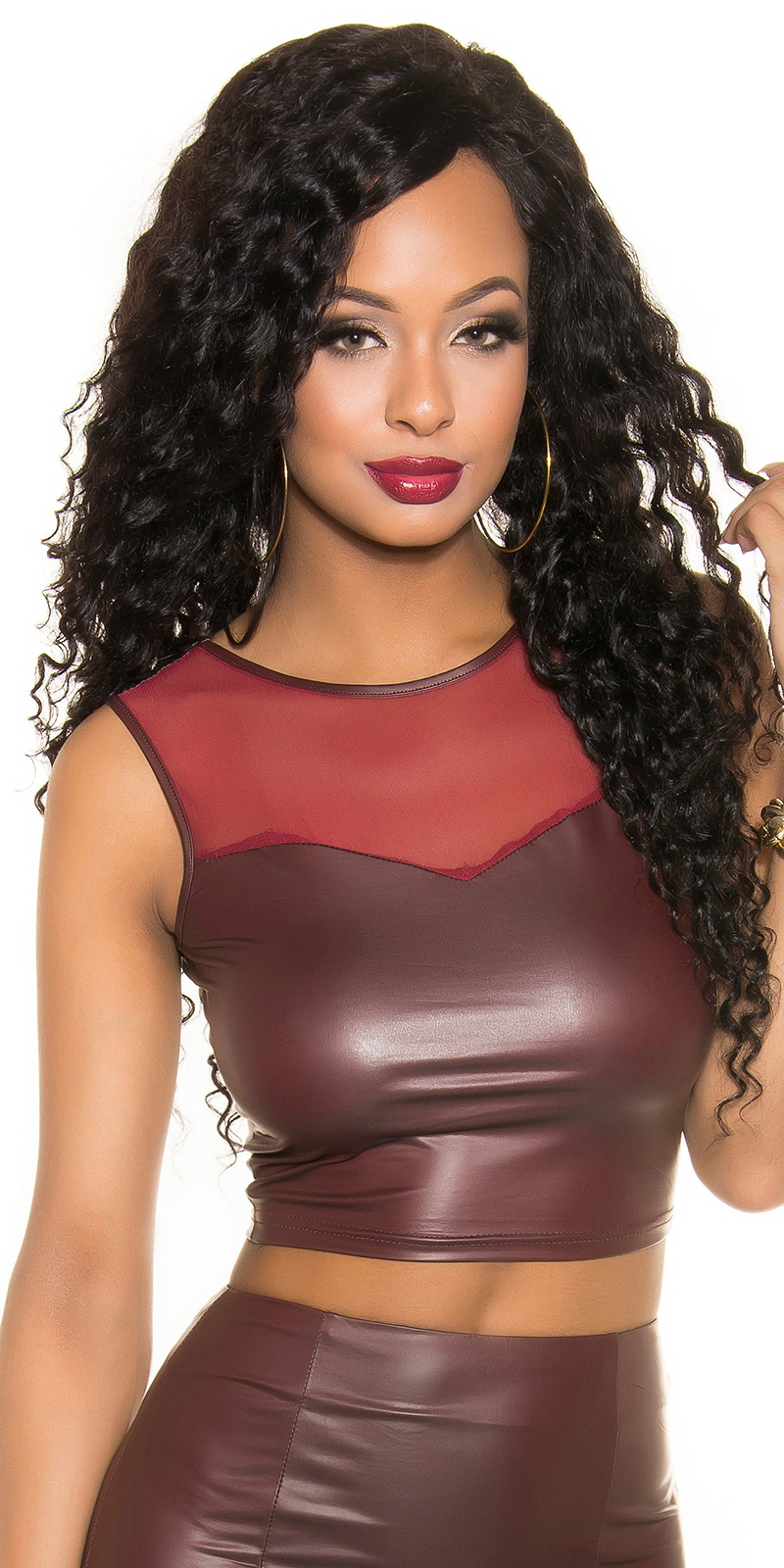 Sexy Wetlook Tank Crop Top met mesh Bordeaux