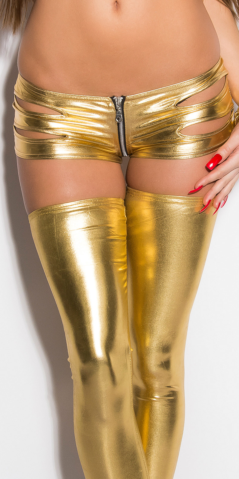 Gogo-Hotpants met cut-outs Goud