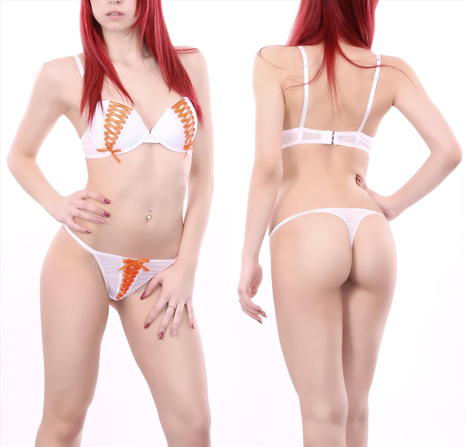 Bra + String White - Orange