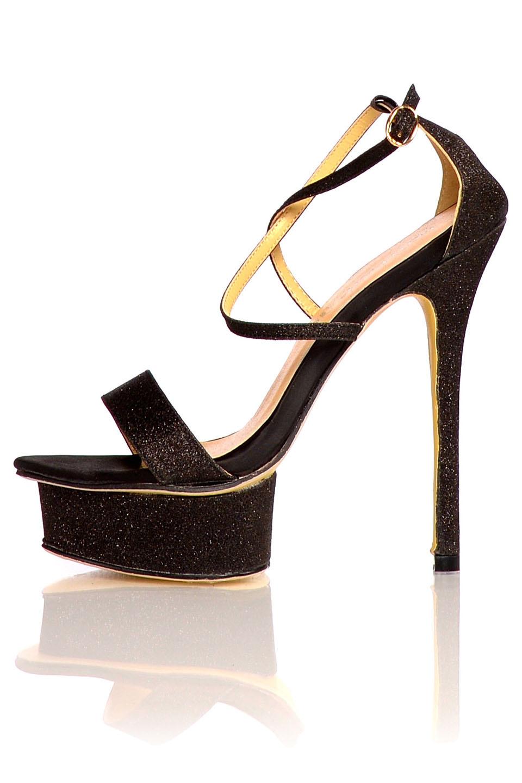 Glitter Sandaletten Zwart